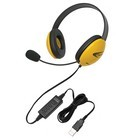Califone 2800YL-USB Listening First Stereo USB Headsets w/ mic - Yellow