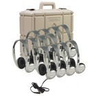 Califone 3060AVS-12 Multimedia Stereo Headphones 12 pack with case 3.5mm plug - silver