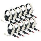 Califone 3066AV-10L Deluxe Multimedia Stereo Headsets with mic 10 pack with case  and dual 3.5mm plugs