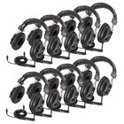 Califone 3068AV-10L Switchable Stereo/Mono Headphones 10 pack w/o case 3.5mm plug and 1/4 inch adapter