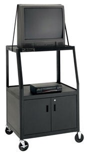 Dalite AV7ULC-49 UL Listed PixMobile fully Arc-Welded Cart with Wide Base and Metal Cabinet 22x32 Shelf with 3 Outlet Electric