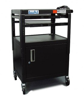 Buhl CABT4226E-5 Height adjustable AV Media cart w/ Security Cabinet - Two Pull-Out Shelves