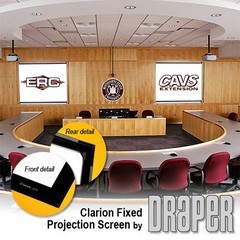 Draper 252131 Clarion Fixed, 162 in. Wide Screen Format ClearSound White Weave XT900E Surface