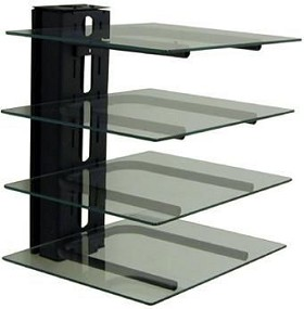 Peerless PM610G 4 Component Electronics Tower - with Glass Shelves - Black