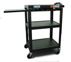 Buhl EXTM4226E-5 Height adjustable AV Media Cart - Three stationary shelves One Pull-Out