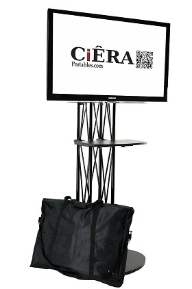 CiERA EZ Fold All-In-One Portable TV Stand with Shelf - Black