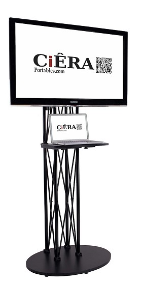 CiERA EZ Fold All-In-One Portable TV Stand with Shelf for 32-70 Inch TV's - Black