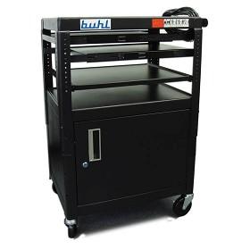 Buhl FIVE4226E Height adjustable AV Media cart w/ Security Cabinet - Two Stationary Shelves Laptop Shelf