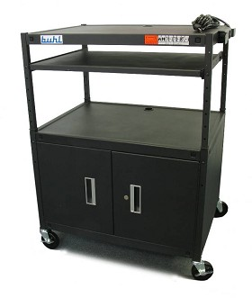 Buhl HABC3224E Height adjustable AV Media cart w/ Security Cabinet - Two Stationary Shelves Laptop Shelf