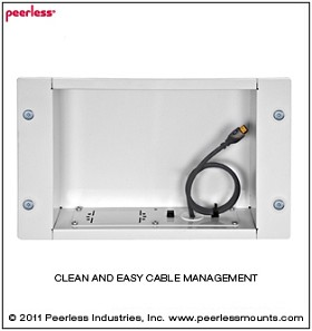 Peerless IBA2AC-W Large Recessed Cable Management and Storage Box with Surge Protected Duplex Power Receptacle - White