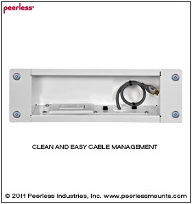 Peerless IBA3AC Medium Recessed Cable Management and Storage Box with Surge Protected Duplex Power Receptacle