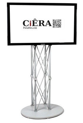 CiERA EZ Fold Portable TV Stand for 28-70 Inch TV's - Silver