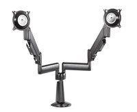 Chief KCY220S Height-Adjustable Dual Arm Dual Monitor Desk Mount - Silver