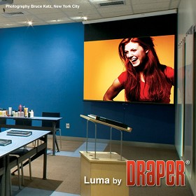 Draper 207100 Luma Manual, 92 in. HDTV Format Matt White XT1000E Surface