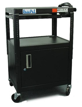 Buhl MPPS4226E-5 Height adjustable AV Media cart w/ Security Cabinet - Three Stationary Shelves