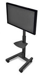 Chief PFCUB Height Adjustable Flat Panel Mobile Floor Stand for 42 to 90 Inch Monitors with Universal Mounting Bracket - Black