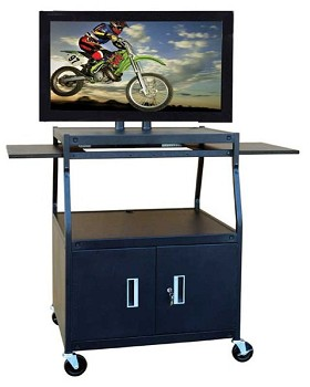 Buhl PLCAB44E Flat Panel TV Cart with Locking Cabinet Height Adjustable 26 inch to 42 inch