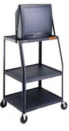 Dalite PM7UL-49J PixMate Cart - Ready to Assemble with Wide Base 22x32 Shelf with 3 Outlet Electric