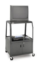 Dalite PM7C-48J PixMate Cart - Ready to Assemble with Metal Cabinet and Wide Base 22x32 Shelf with 3 Outlet Electric