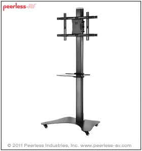Peerless SC550 Flat Panel TV Stand for 42 to 58 Inch Monitors with Universal Interface and One Shelf - Black