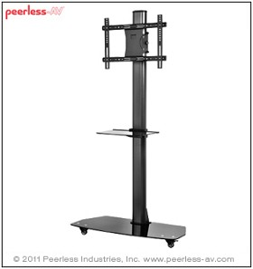 Peerless SC550GL Flat Panel TV Stand for 42 to 58 Inch Monitors with Universal Interface and One Shelf - Black