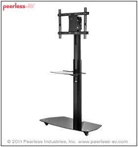 Peerless SC551GL Flat Panel TV Stand for 42 to 58 Inch Monitors with Universal Interface and One Shelf - Black