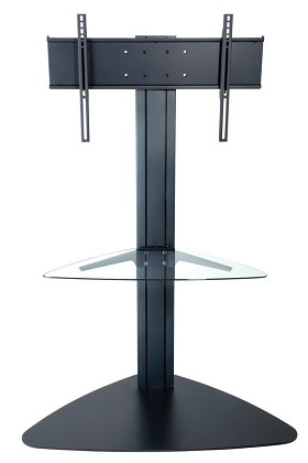 Peerless SGLB01 Flat Panel TV Stand for 32 to 65 Inch Monitors with Universal Mounting Bracket and One Glass Shelf - Black