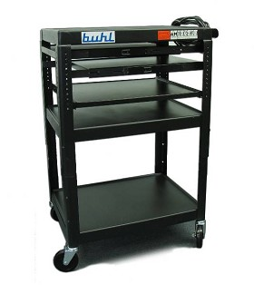 Buhl SIXS4226E-5 Height adjustable AV Media Cart - Three stationary Shelves Two Pull-Out Additional Laptop Shelf