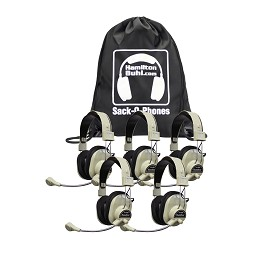 Hamilton SOP-HA66M Sack-O-Phones, 5 HA-66M Deluxe Multimedia Headphones in a Carry Bag
