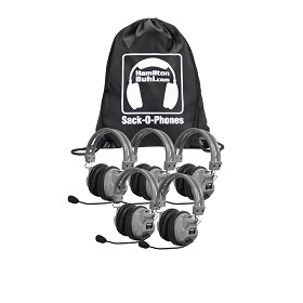 Hamilton SOP-HA7M Sack-O-Phones, 5 HA7M Deluxe Headphones w/ Mic in a Carry Bag