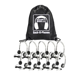Hamilton SOP-MS2L Sack-O-Phones, 10 MS2L Personal Headsets, Leatherette Ear Cushions in a Carry Bag