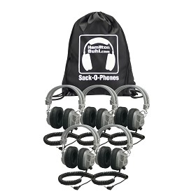 Hamilton SOP-SC7V Sack-O-Phones, 5 SC7V Deluxe Headphones w/ Volume Control in a Carry Bag
