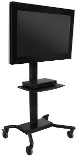 Peerless SR560G SmartMount Mobile Flat Panel Cart for 32 to 65 Inch Monitors with Universal Mounting Bracket and One Glass Shelf - Black