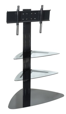 Peerless SS550P Flat Panel TV Stand 32 to 65 Inch Monitors with Universal Mounting Bracket and Two Glass Shelves - Black