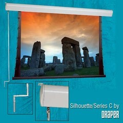 Draper 201060 Silhouette Series C Manual, 96 in. x 96 in. AV Format Pearl White CH1900V Surface