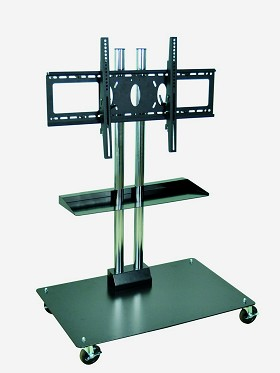 Luxor WPSMS44SCH-4 Mobile Flat Panel Stand Includes Shelf for 32-60 Inch TV's - 50 Inches Tall