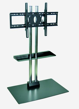 Luxor WPSMS62SCH-4 Mobile Flat Panel Stand Includes Shelf for 32-60 Inch TV's - 65 Inches Tall