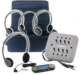 Hamilton Electronics CB/4SVHA2MP3 MP3 Listening Center - 4 Personal Headphones, Jackbox with Volume, 1GB MP3 Player, Carry Case