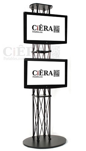 CiERA Large Folding Truss Stand 120 Inch in Height for Up to Two Monitors 42-70 Inch Diagonal- Black