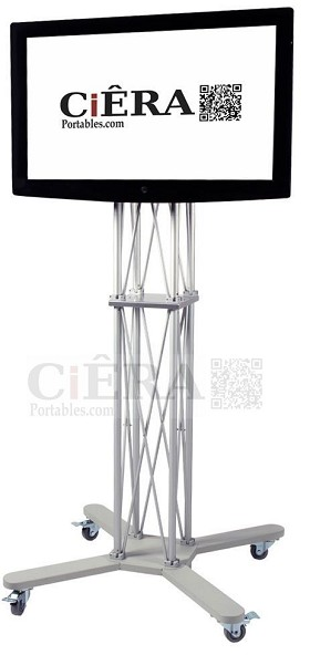 CiERA EZ Fold Mobile™ Single Flat Panel Stand for 42-70 Inch TV's - Silver
