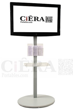 CiERA EZ StandTall 200™ Portable 73 Inch Tall  Flat Panel Display Stand for 23-40 Inch TV's and Monitors - Silver