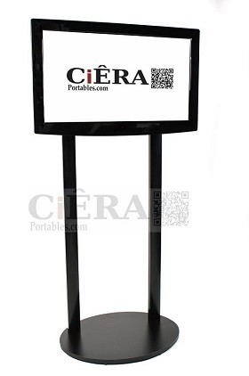 CiERA Boardroom Flat Panel Display Stand with Signage Slot - Black