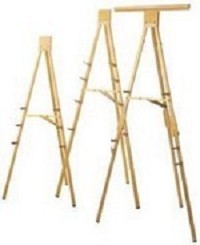 DaLite 43165 D305-Portable Display Easel 6' folding easel with chart clamp gold anodized.