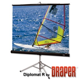 Draper 215011 Diplomat/R Portable, 50 in. x 50 in. AV Format Matt White XT1000E Surface