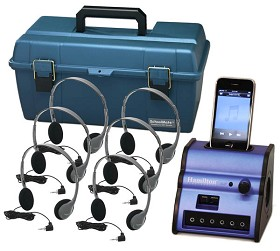 Hamilton Electronics DSIP-HA2 Listening Center - Hamilton Digital Audio Hub with 6 HA2 Headphones and Plastic Carry Case