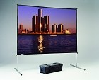 Da-Lite 95691 Fast-Fold Deluxe Projection Screen 9X9 Square Format DaTex High Contrast Surface with Legs and Case