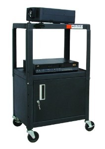 Buhl HACAB4226E Steel Cart Adjustable 26 inch to 42 inch with Locking Security Cabinet and Electric