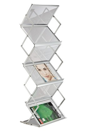 CiERA EZ Fold Portable FLS-IV Folding 5 Pocket Literature Stand Silver Finish Acylic Shelves with Styrene Carrying Case