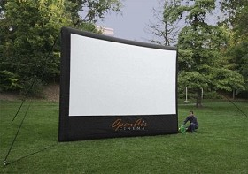 Open Air Cinebox Indoor/Outdoor Projector Screen 9x16' Viewable, overall dimensions are 13hx17.5'w