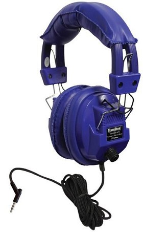 "Hamilton Electronics Kids-SC7V Kids Blue, Deluxe Stere/Mono Headphone with 1/8"" Plug and 1/4"" Adapter and Volume Control"